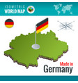 isometric map and flag of the germany or vector image