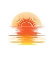 orange sunset and sea waves vector image