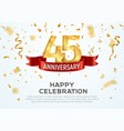 45 years anniversary banner template forty vector image