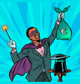 african magician with euro money vector image vector image