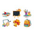 back to school elements set different school vector image vector image