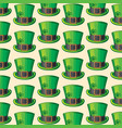 background pattern with st patrick green hat vector image vector image