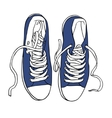 Blue sports sneakers with white laces