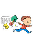 boy joyfully escapes from school on vacation vector image vector image