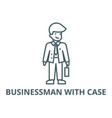 businessman with case line icon vector image vector image