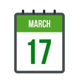 Calendar with St Patricks Day date icon vector image vector image