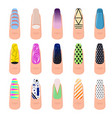 cartoon color nail service art elements set vector image vector image