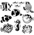cartoon fishes black and white vector image vector image