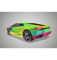 Colorful sport car on green background - polygonal vector image
