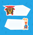 cute superhero animals with place for your text vector image vector image