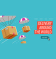 delivery service business parachute with box or vector image