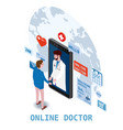 doctor online isometry healthcare and medical vector image vector image