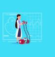 female doctor hold defibrillator medical clinics vector image