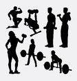 Fitness male and female activity silhouette vector image vector image