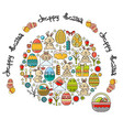 greeting card with easter icon and vector image vector image