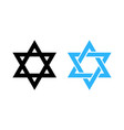 hexagram david star - black and blue icon of vector image vector image