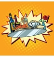 Large food tray with wine and dinner vector image vector image