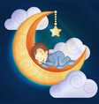 little boy sleeping on moon vector image vector image