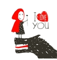 Little Red Riding Presenting Flower to Black Wolf vector image
