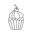 muffin with cherry black and white vector image vector image