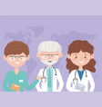 old and young team medical staff professional vector image