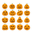 pumpkin halloween faces vector image vector image