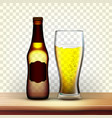 realistic brown bottle and glass of lager vector image vector image