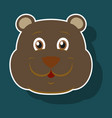 realistic paper sticker on theme funny animal bear vector image vector image