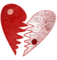 Red Valentines Day broken heart drawn Zentangle vector image