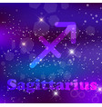 sagittarius zodiac sign on a cosmic purple vector image