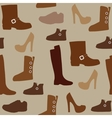 Seamless pattern with different kind of shoes vector image