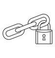 secured lock icon outline style vector image vector image