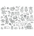 set adorable characters and mascots vector image