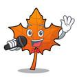 singing red maple leaf mascot cartoon vector image