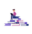 student is learning large pile books vector image