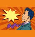 surprised pop art man vector image