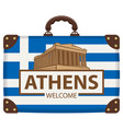 travel suitcase with flag of greece and acropolis vector image vector image
