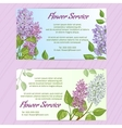 Two business cards with lilac