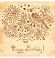 Vintage Festive card with flowers and birds vector image vector image