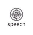 vintage retro microphone logo design vector image vector image