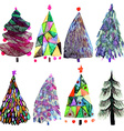 Watercolor Christmas tree set isolated on a white vector image vector image
