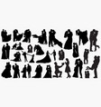 wedding love silhouettes vector image vector image
