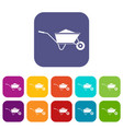 wheelbarrow with sand icons set vector image vector image