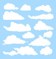 white silhouette shapes clouds on blue vector image vector image