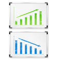 whiteboards with graphs vector image vector image