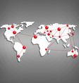 World map with red point marks on grayscale vector image vector image