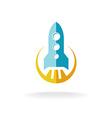 Rocket start flat style logo Spaceship launch vector image