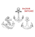 Sketches of ancient marine anchors with rope vector image
