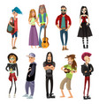 subcultures people set in cartoon style vector image