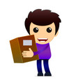 cartoon delivery boy with package vector image